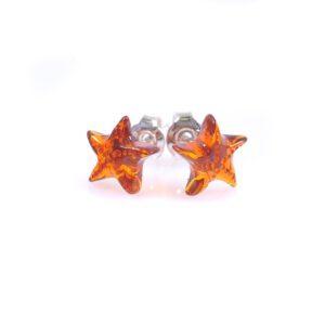 Кехлибарени обеци малки звездички