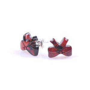 Обеци кехлибарени панделки в черешов цвят